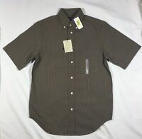 NWT Men's Roundtree & Yorke Slim Fit Brown Plaid Short Sleeve Button Front Shirt