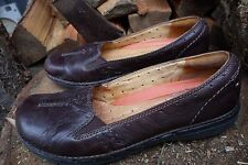 Clarks Structured Women's Brown Leather Slip On Loafer Shoes Size 7 1/2 N