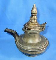 1850s Antique Old Brass Hand Carved Temple Top Figure Oil Storage Pot Butter Pot