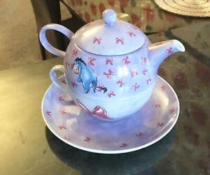 Disney Store Exclusive .Winnie The Pooh. Eeyore. Teapot & Cup & Saucer Set. mint