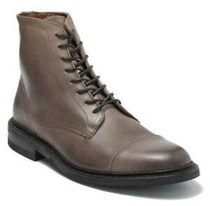 Frye Men's Seth Cap Toe Lace Up Leather Boots in Stone Size 9.5