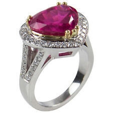 6.97 Carat Rubellite Heart and Diamond Gold Ring