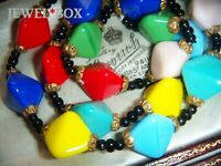 ART DECO CZECH BOHEMIAN HARLEQUIN RHOMBOID GLASS BEADS VINTAGE NECKLACE