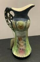 Antique Austrian Robert Hanke One Handle Porcelain Ladies Portrait Vase