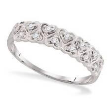 Diamond Band 10K White Gold Diamond Heart Cluster Ring .10ct Size 7