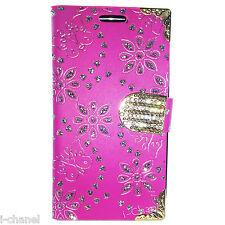 Bling Designer Diamond Leather Book Flip Wallet Case Cover For Various Models
