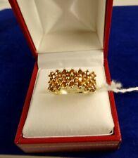 Ladies 9ct Gold ORANGE TOPAZ TANGERINE GARNET RING Hm  Sz S 4.7gr 6s