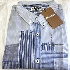 Mens DESIGUAL Shirt 2XL Slim Fit Blue White Striped Button Cuff Cotton BNWT