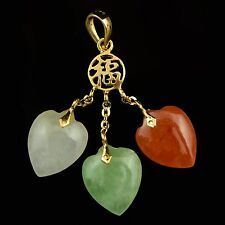 Solid 14K Yellow Gold, Chinese Happiness 3 Heart Jade Estate Pendant NR!