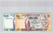 ZAMBIE LOT DU 5 et 10 KWACHA ND (1980) PICK 25 d & 26 d