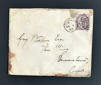 1893 Cover US Consulate in Dublin Ireland to Queenstown Free Ship