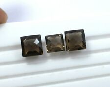 21.50CT 3 Piece 100% Natural Smoky Quartz Loose Gemstone Square Checker Cut S31