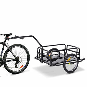 HOMCOM Folding Bicycle Cargo Storage Cart and Luggage Trailer with Hitch
