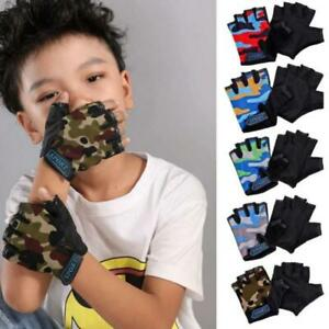 Child Cycling Camouflage Half Finger Gloves High Elastic Non-slip Bike Glo.ji