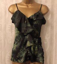 Karen Millen Green Forest Print Frill Panel Drape Jersey Black Cami Top 8 36