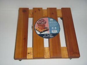 """12"""" Square Wood Plant Trolley Caddy, Misco # CA9577"""