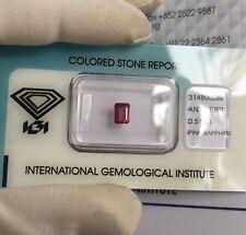 NATURAL Vivid Purple Pink UNTREATED Sapphire 0.51ct Emerald Cut IGI CERTIFIED