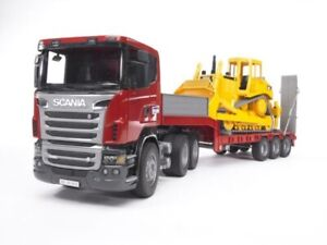 Scania R-Series Truck with Low Loader and Cat Bulldozer