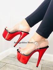Pleaser Adore-708 Women's Stiletto Heel Platform Ankle Strap Sandals Clear/red Chrome 10