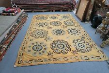 "ANTIQUE VINTAGE UZBEK EMBROIDERY SUZANI 73"" X 112"" PANEL TAPESTRY WALL DECOR"