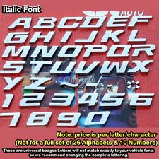 Car Auto 3D Emblem Badge Sticker Chrome Letters Number New Style italic x1 piece