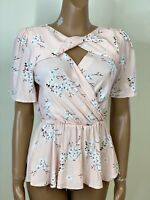 RIVER ISLAND Pink Blossom Print Cross Front Top Size 8 RRP £32