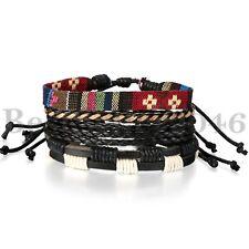 4PCS Set  Bracelets Wrap Leather Bracelet for Men Women Punk Multilayer
