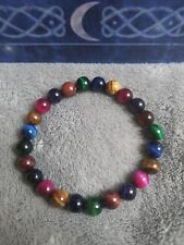 Mixed Tigers eye crystal healing 8mm bead bracelet Blue pink purple golden red