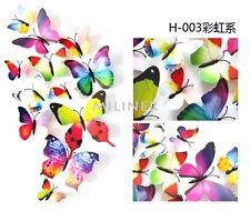 12 pcs 3D Butterfly Wall Decal Kit in RAINBOW (wall sticker, home decor)