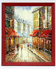 Paris Street Scene 20 x 24 Art Oil Painting on Canvas w/Custom Frame