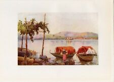Stampa antica VEDUTA del LAGO D' ORTA con barche tipiche e Isola 1905 Old Print