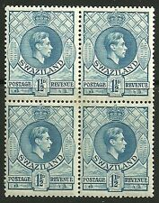 SWAZILAND SG30 1938 1½d LIGHT BLUE p13½x13 BLOCK OF 4 MTD MINT