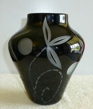 Signed Correia Limited Edition Art Glass Vase 7/500 Black With Etched Designs