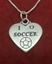 Sterling Silver I Love Soccer Necklace Football all solid 925 and 18inch chain