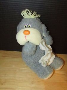 Cuddle Wit toys gray nubby sherpa fur plush puppy dog holding blanket yarn hair