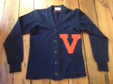 Vtg1950s UVA University Virginia Letterman V Collegiate College Sweater S 35""