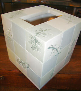 Bed Bath & Beyond Resin Green Fern Rainier Tissue Box Cover 52126 Hand Painted