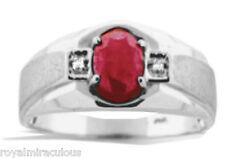 Mens Genuine Ruby & Diamond Ring 14K White Gold