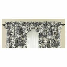 2 Waverly Curtain Drape Valance Country Life Black Cream Toile Ascot Tassel