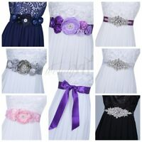 Bridal Pearl Rhinestone Crystal Beaded Waistband Sash Wedding Dress Belt Ribbon