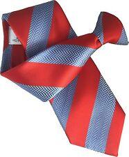 British Woven Silk Mens Striped Clip On Clipper Security Ties Gentlemen Ties