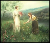 "24""x20"" Oil Painting on Canvas, Women Picking Wild Flowers, Hand Painted"