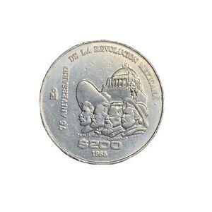 1985 Mexico Mexican 200 Pesos 75th Anniversary Eagle Coin Big Foreign World