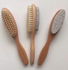 Lot of 3 natural wooden foot brush pumice stone pedicure care scrub nail callus