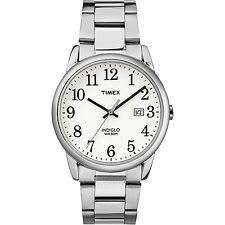 Mens Timex Indiglo Easy Reader Stainless Steel White Dial Date Watch TW2R23300