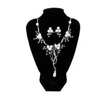 Elegant Crystal Pearl Flower Waterdrop Tassel Necklace Earring Jewelry Set