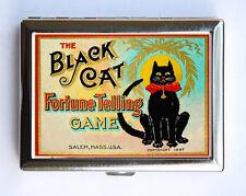Black Cat Fortune Telling Game Cigarette Case Wallet Business Card Holder
