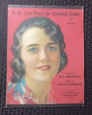 1919 Sheet Music IN THE LAND WHERE THE SHAMROCK GROWS 4pgs VG Rolf Armstrong