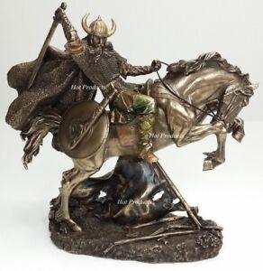 "10"" NEW VIKING WARRIOR Rearing on Horse Statue / Sculpture Antique Bronze Finish"