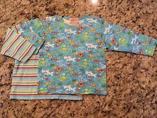 Eeuc Zutano 6-12M Shirts 2pc Lot, Stripes, Under The Sea Shark Fish Long Sleeve